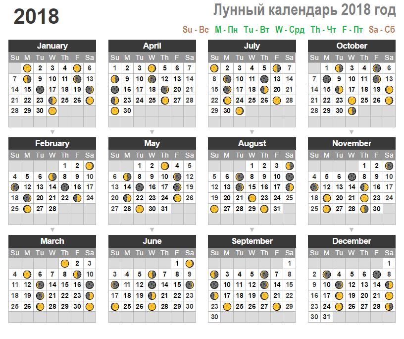 Лунный посевной календарь на весь 2018 год по месяцам, для садоводов и огородников
